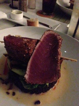 Shore Diner: Rare tuna served on black rice with bok choy