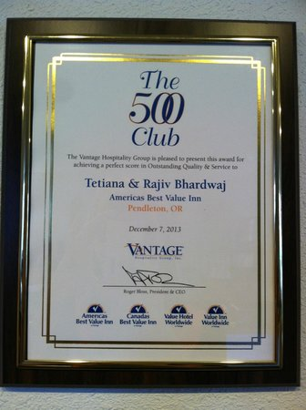 Americas Best Value Inn Pendleton: club 500 award