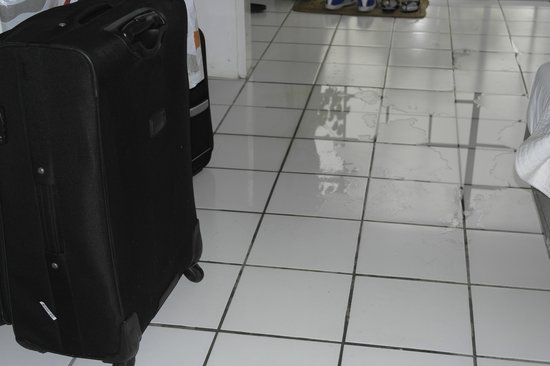Marigot Beach Club and Dive Resort: water on floor from roof leaks