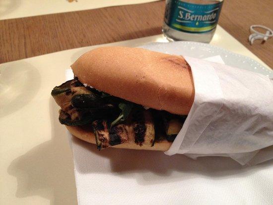 Panino Giusto Navigli : panini with grilled zucchini, goat cheese, olive pate