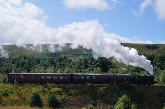 Pontypool and Blaenavon Railway: Visiting locomotive 72 passes Big Pit with a morning train to Furnace Sidings.
