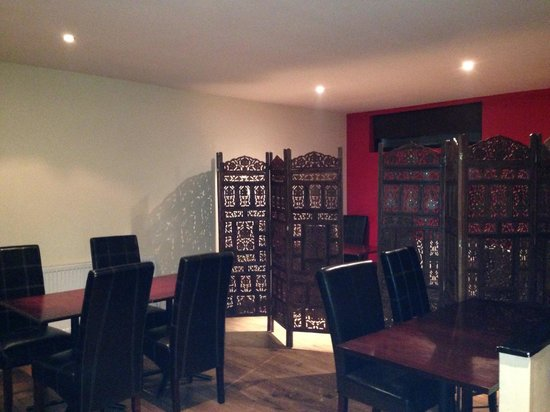 Bhaizans grill: Upstairs family room and partition section