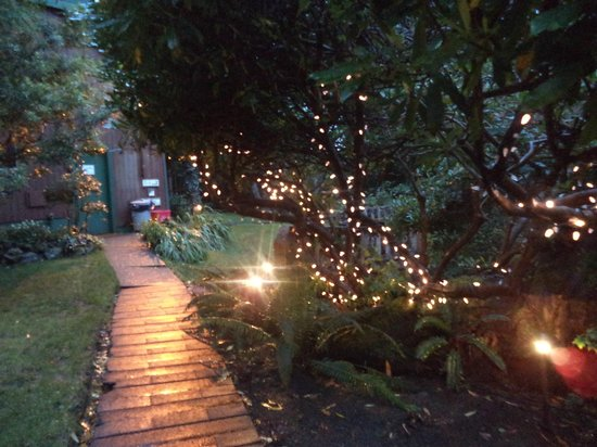 Duffin Cove Oceanfront Lodging: Walkway to room, all lit up