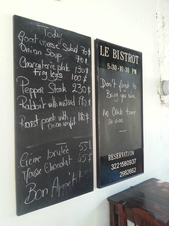le bistrot : Menu board - changes daily with specials