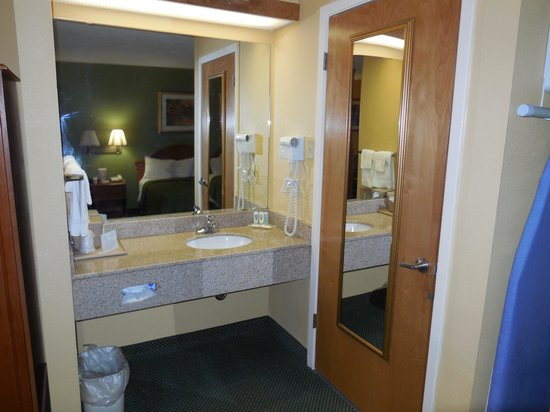 Red Roof Inn Amarillo West: Sink and vanity area is nice size and very well lit, which is a must for all women!