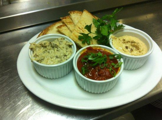 Safta's : Triple Dip! Hummus, baba ganoush and matbucha- all made fresh in house
