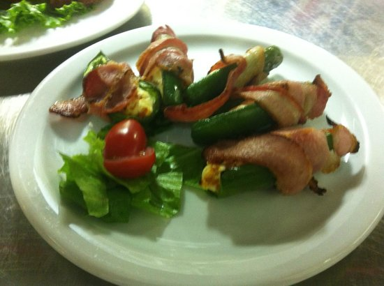 Safta's : Our jalepeno bites- filled with cream cheese and chorizo sausage, then wrapped in bacon- yum!!