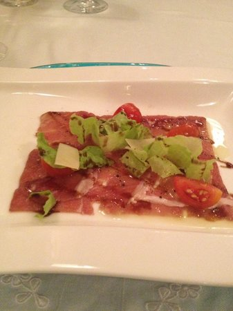 Iberostar Grand Hotel Rose Hall : Italian Appetizer - Beef carpaccio and arugula with balsamic vinegar