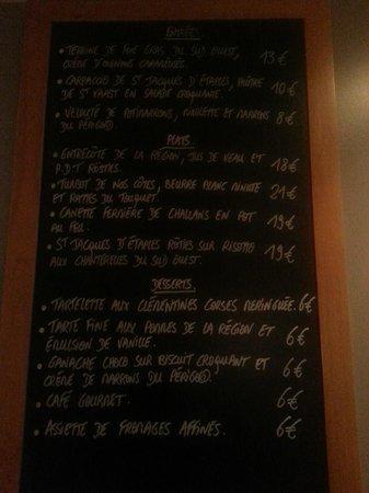 Le Quartier Gourmet : menu