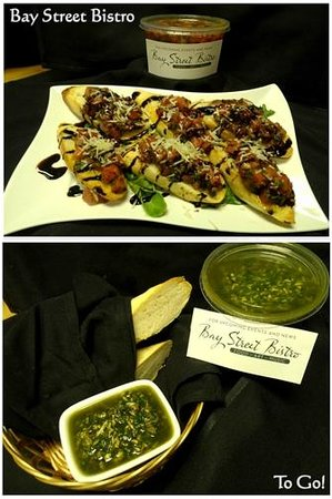 Bay Street Bistro: We off our hand made bruschetta & pesto as to-go options!