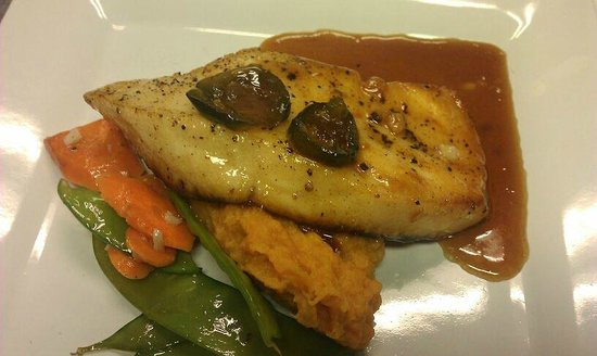 Bay Street Bistro : Dinner Special: Sea Bass with a candied jalapeno honey glaze.