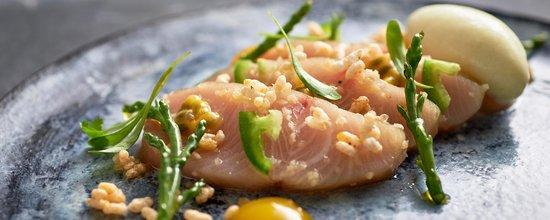 Hawksworth Restaurant: Hamachi sashimi, passionfruit, jalapeño, coconut, white soy