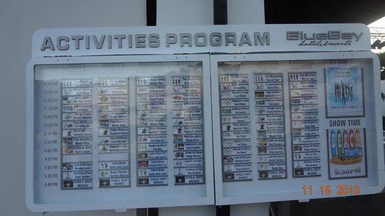 BlueBay Villas Doradas Adults Only: Daily Activite Board