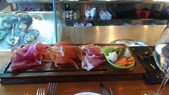 Charley Noble Eatery & Bar: three ham platter, yum!