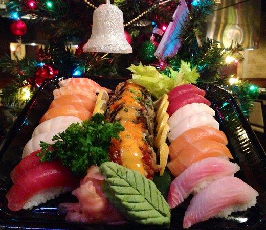 christmas sushi platter picture of kobe 39 s japanese steakhouse and sushi bar bismarck. Black Bedroom Furniture Sets. Home Design Ideas