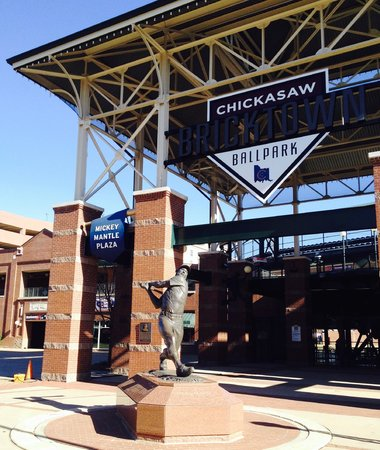 Chickasaw Bricktown Ballpark: Mickey Mantle & outside of field
