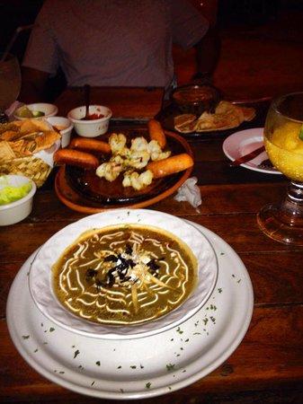 Carboncitos: Tortilla soup, Shrimp appetizer