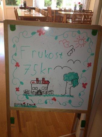 Rosenfors Vandrarhem: Rosenfors Herrgård - Barnens Frukostskylt
