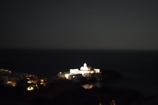 Selana Suites: View from room at night of the chrisopigi chapel