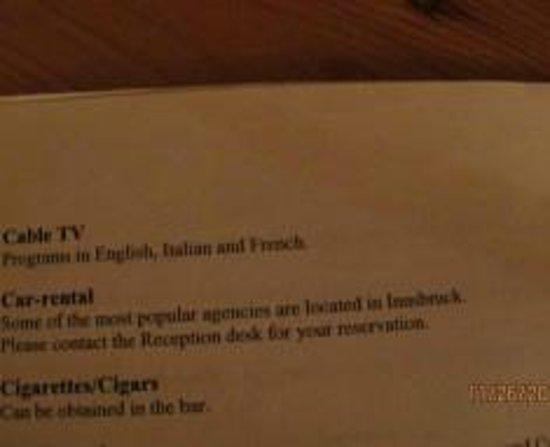 Hotel Schwarzer Adler: No English