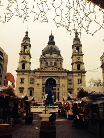 Trendy Budapest B&B Hostel: Christmas market in Basilica Square, literally 100 meters away from the hostel