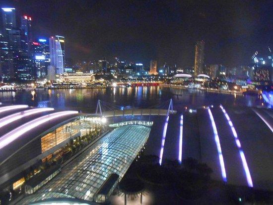 Marina Bay Sands: 部屋から見た夜のマリーナべイやシティの夜景