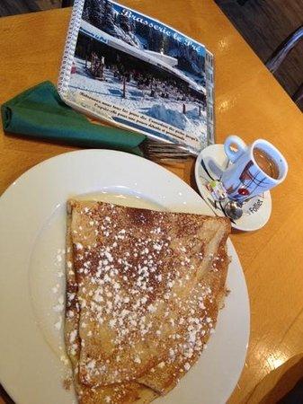 Brasserie Le Pre : crêpe au sucre 3,50€ le café 1,80€