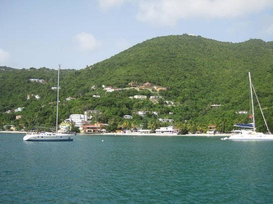 Cane Garden Bay: View of bay from boat