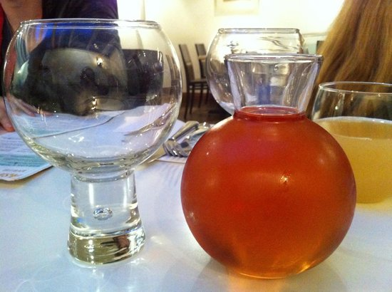 Ask Italian - Truro: The exceptionally silly wine glasses and sample jar - sorry, caraffe