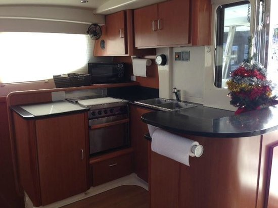 Private Yacht Charter SXM: cabin kitchen