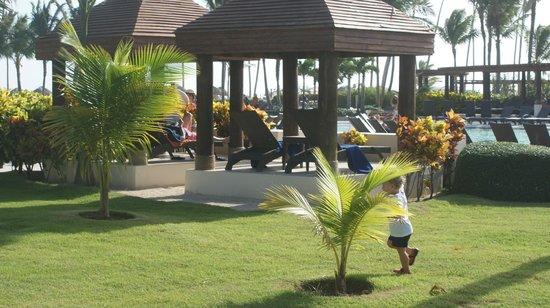 Now Larimar Punta Cana: Лежаки у главного бассейна
