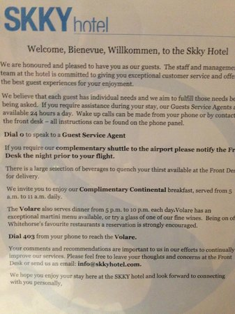 SKKY Hotel: In house room guide that advertises the non-existent free breakfast