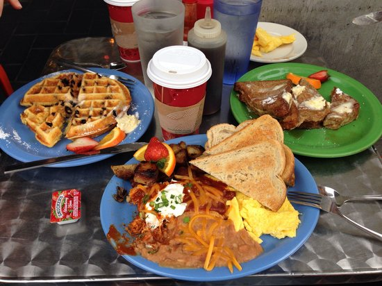Cafe 222 : Blueberry Cornbread Waffle, Pork Tamale with Eggs, and Banana Stuffed French Toast