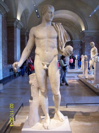 Nude male statues in the louvre