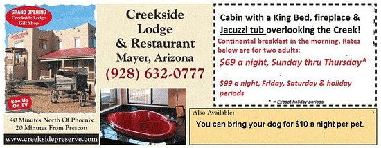 Creekside Preserve Lodge and Guest Cabins: Our Special Coupon Offer
