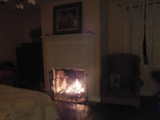 Battlefield Bed and Breakfast Inn: The warm and very cozy gas fireplace in our bedroom.