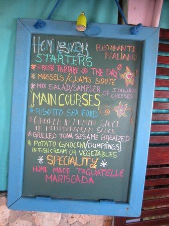 Tulum Hemingway Romantic Cabanas: The menu!