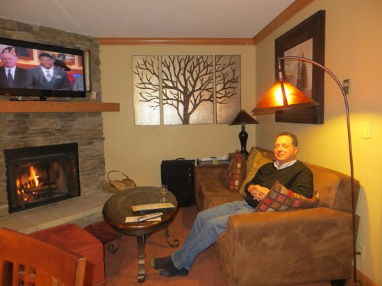 Beaver Run Resort and Conference Center : Enjoying the fireplace.
