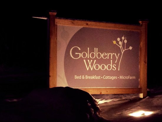 Goldberry Woods Bed & Breakfast Cottages: Sign at Night
