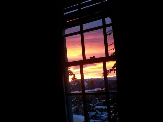 Timberline Lodge: Sunrise from our bed!