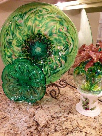 Island Glassblowing Studio: huge platter in mouth watering greens