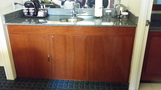 DoubleTree Suites by Hilton Hotel New York City - Times Square : Sink area has microwave in cabinet.