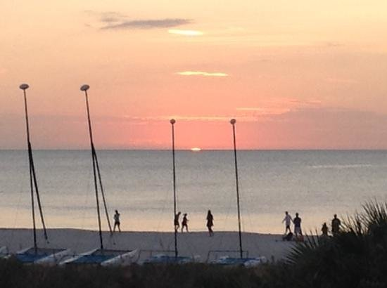 Marriott's Crystal Shores : A view from the onsite restaurant/bar at sunset.
