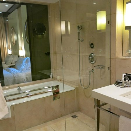 Fairmont Cairo, Nile City : room shower and tub