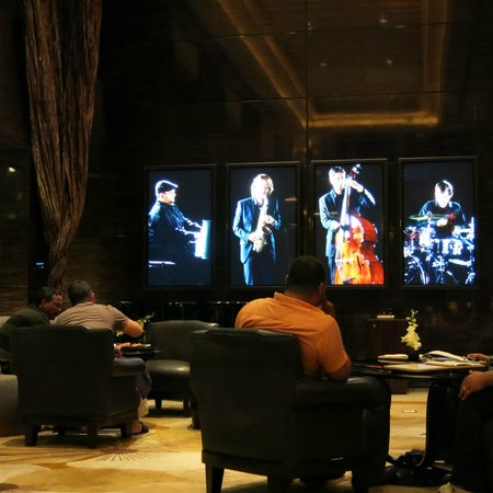 "Fairmont Nile City: bar area (with fun ""band"")"