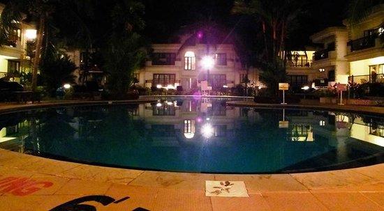 Sonesta Inns: The pool night time..
