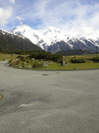Mt Cook Lodge and Motels: View from the carpark (below our room)