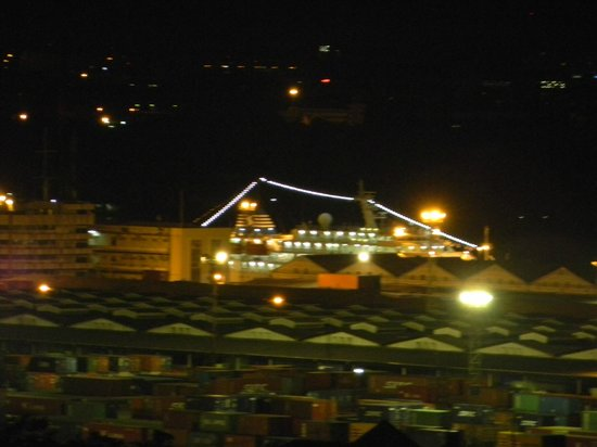 Boss Tower: Night time Close-up of Cruise ship on Chao Phraya River  from Balcony