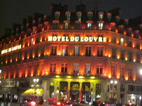 Hotel du Louvre lit up at night for Christmas