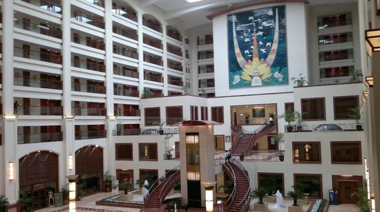 The Lalit Mumbai: The lobby from same view, during the day.